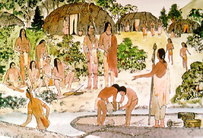 Official site of the delaware tribe of indians lenape villages lenape village this scene shows some people arriving at a lenape village by dugout canoe and people who live in the village carrying on their daily publicscrutiny Image collections